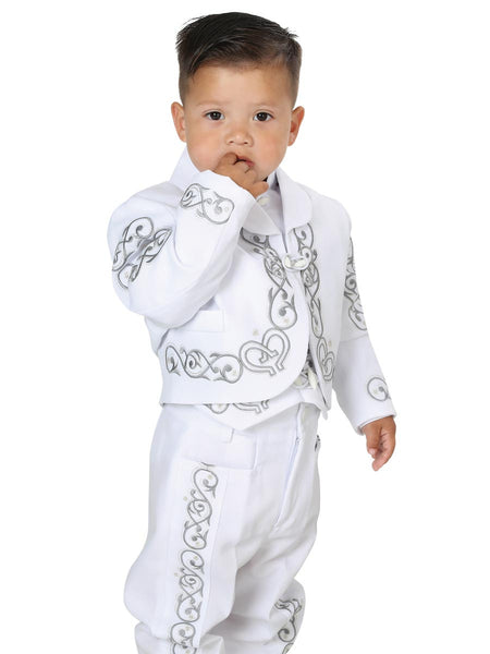 Little Boy White with Silver Traditional Mexican Charro Suit