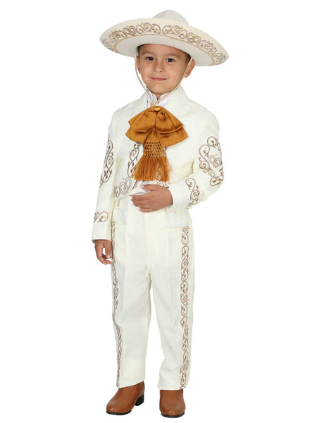 Little Boy Ivory with Gold Traditional Mexican Charro Suit