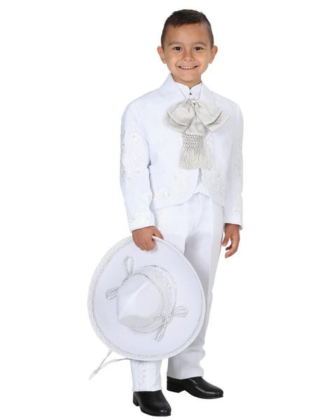 Little Boy White with Silver Detail Traditional Mexican Charro Suit