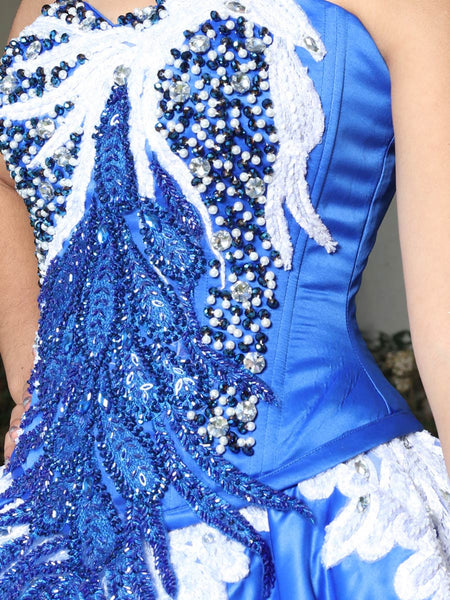 Royal Blue & White Quinceañera Dress
