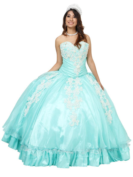 Aqua & White Lace Quinceañera Dress