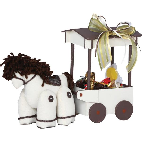 Brown & Cream Horse Carriage Centerpiece