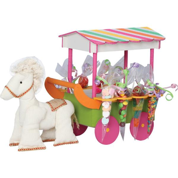 Bright Colors Horse Carriage Centerpiece