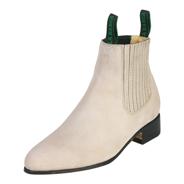 Male Suede Light Bone Traditional Charro Ankle Boot