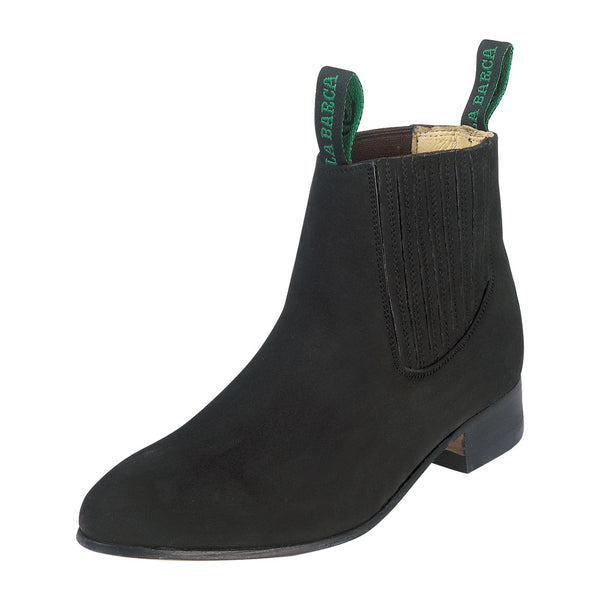 Male Black Suede Traditional Charro Ankle Boot