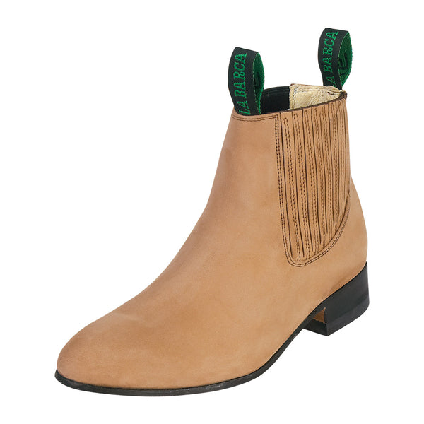 Male Suede Bone Traditional Charro Ankle Boot