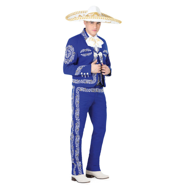 Royal Blue Silver & Gold Hand-stitched Charro Suit