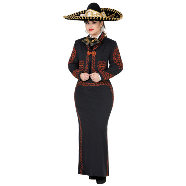 Black & Orange Woman Grecado Charro Suit
