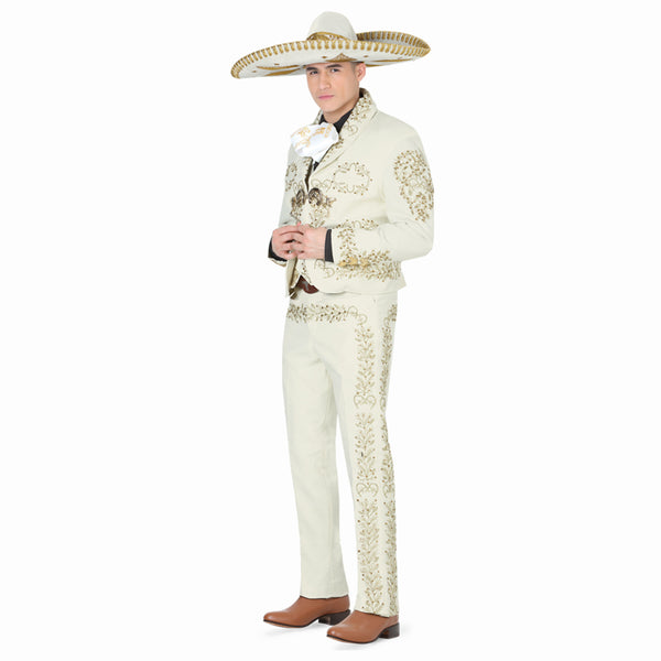 Ivory & Gold Hand- stitched Charro Suit