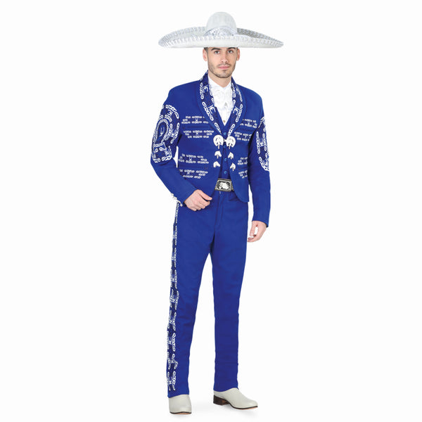 Royal Blue & White Hand- stitched Charro Suit