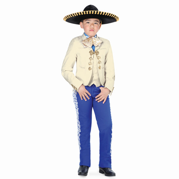 Ivory Suede Jacket & Grecado Pant Little Boy Charro Suit