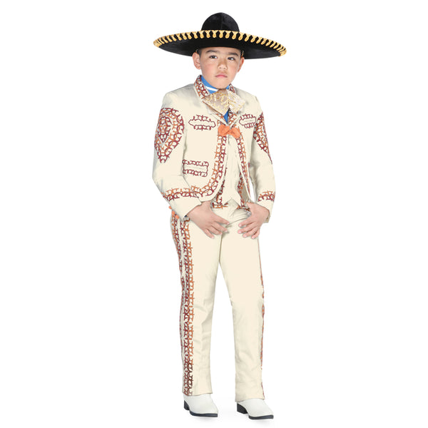 Ivory & Brown Double Grecado Little Boy Charro Suit