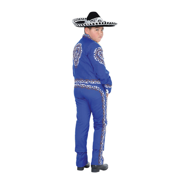 Royal Blue & White Double Grecado Charro Suit