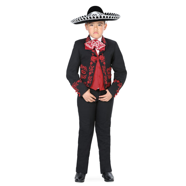 Black & Red Little Boy Charro Suit