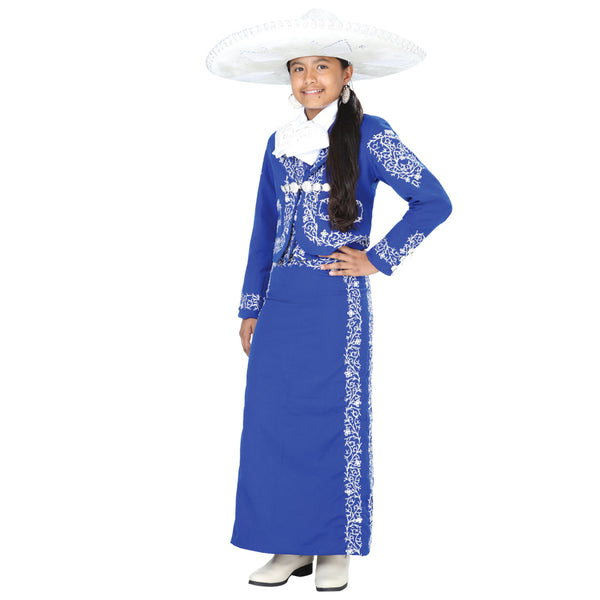 Royal Blue & Silver Little Girl Charro Suit