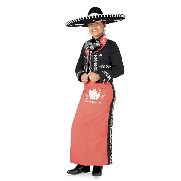 Black & Coral Little Girl Charro Suit