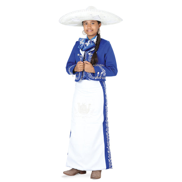 White & Royal Blue Charro Suit