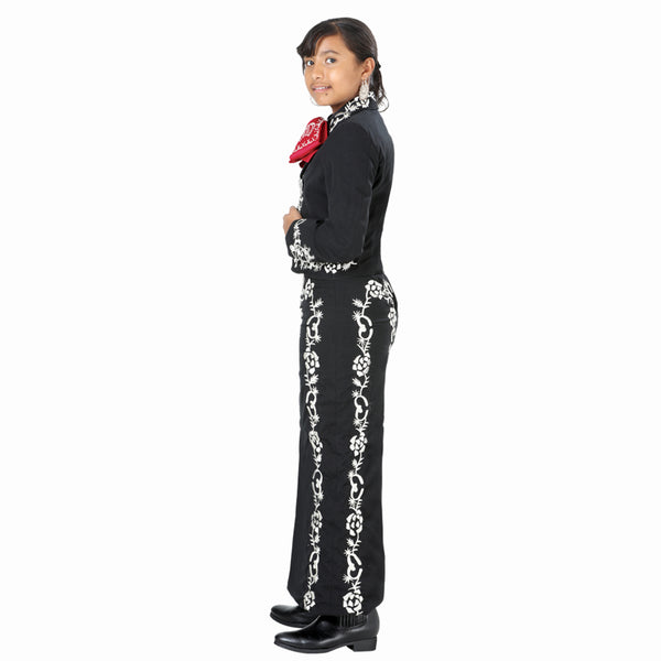 Black & Silver Hand- stitched Little Girl Charro Suit