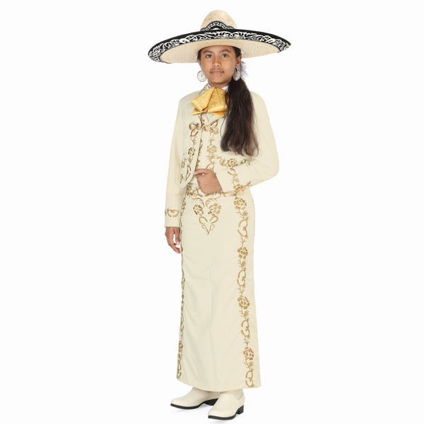 Ivory & Gold Little Girl Charro Suit