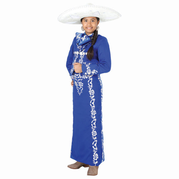 Royal Blue & Silver Hand-stitched Little Girl Charro Suit