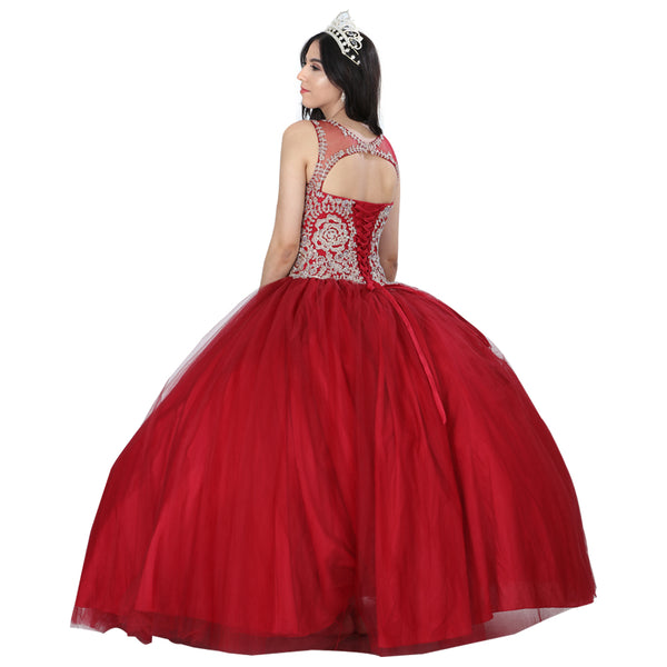 Burgundy & Gold Flowers Quinceañera Dress