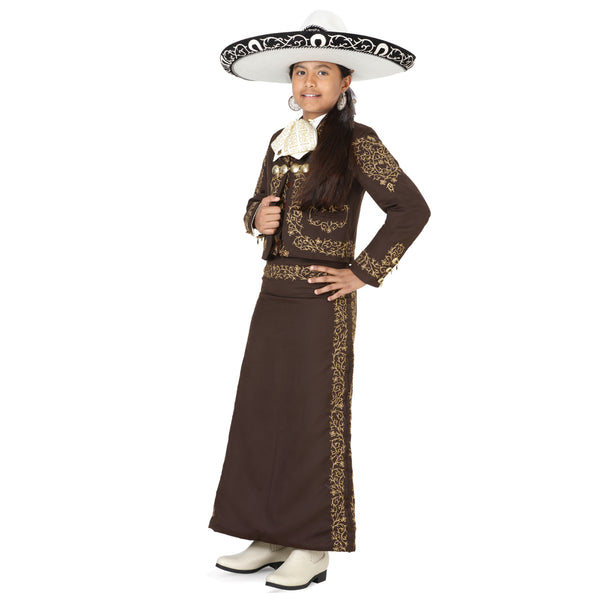 Brown & Gold Hand- Stitched Little Girl Charro Suit