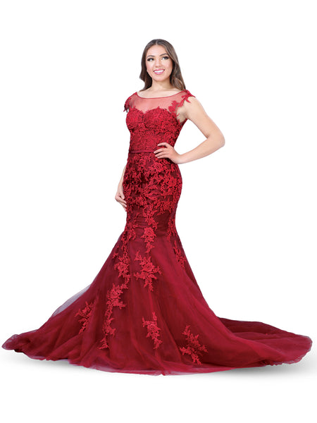 Deep Red Mermaid Lace Dress