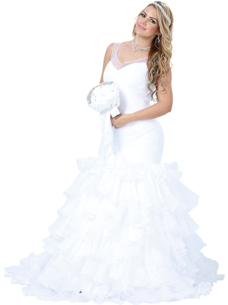 Satin Ruffle Wedding Gown