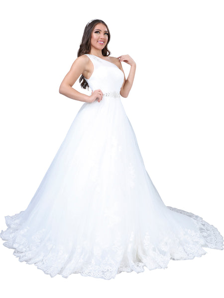 One- Shoulder A-line Wedding Gown
