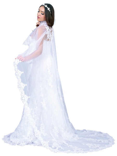 Strapless Lace Wedding Dress with Cape