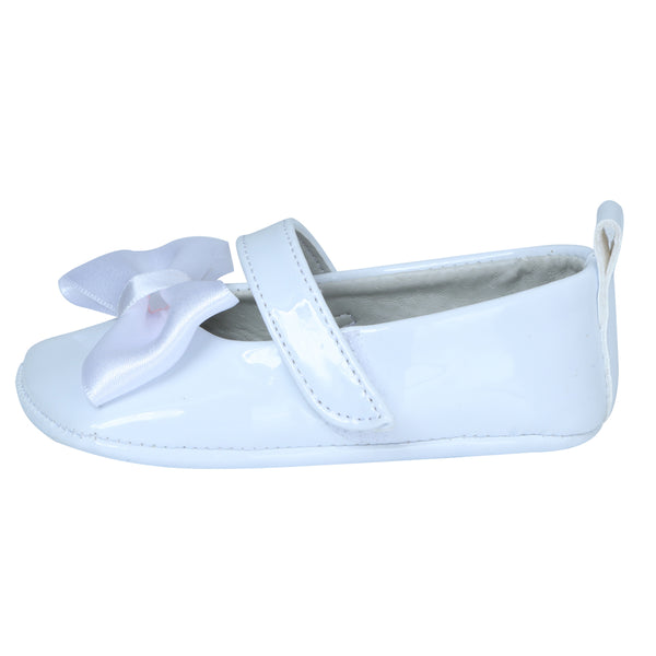 White Silk Bow Baby Shoe