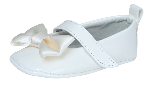 Ivory Silk Bow Baby Shoe