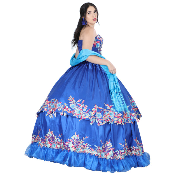 Royal Blue Floral Quinceañera Dress