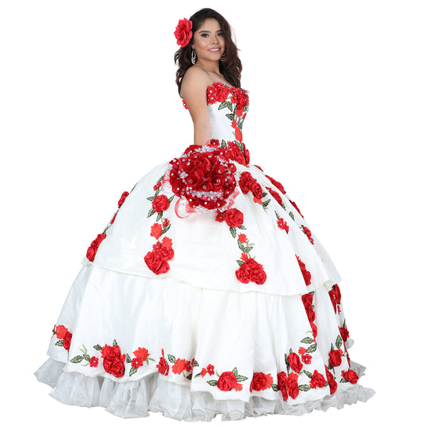 Red Roses Quinceañera Dress