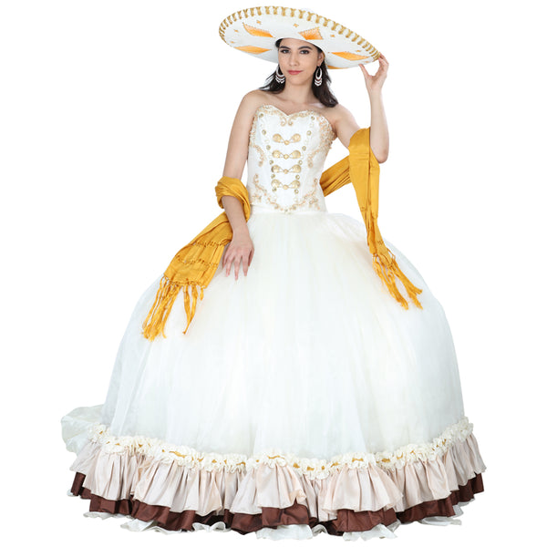 Ivory & Gold Quinceañera Dress