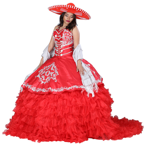 Red & Silver Charro Quinceañera Dress