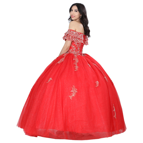 Red & Gold Off-the-shoulder Quinceañera Dress