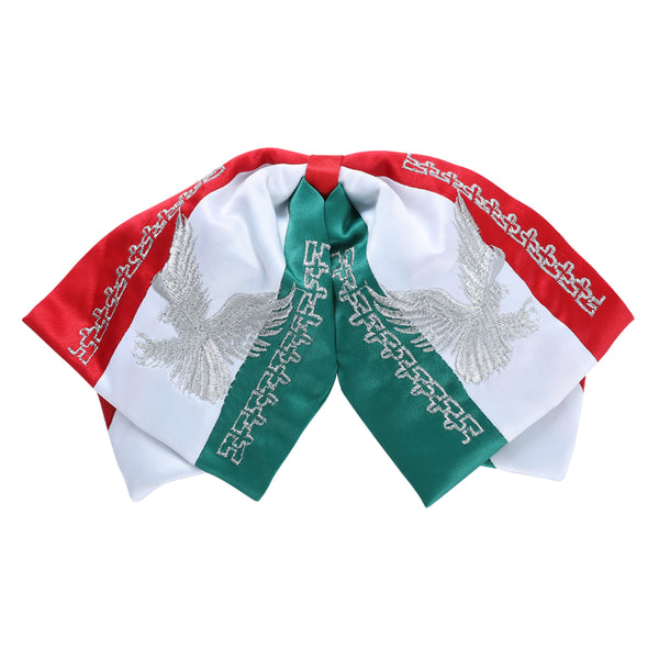 Mexican Flag Silver Eagle Charro Bow