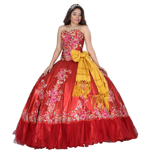 Red Multicolored Charro Quinceañera Dress