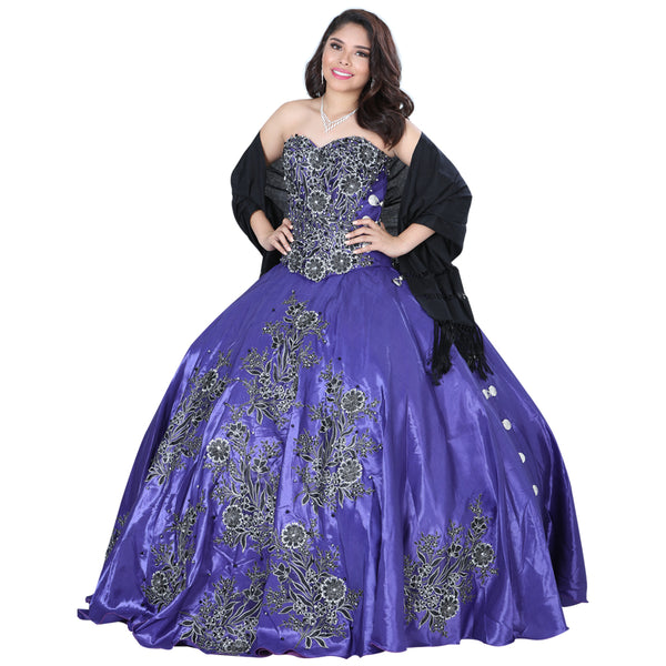 Purple & Black Charro Quinceañera Dress