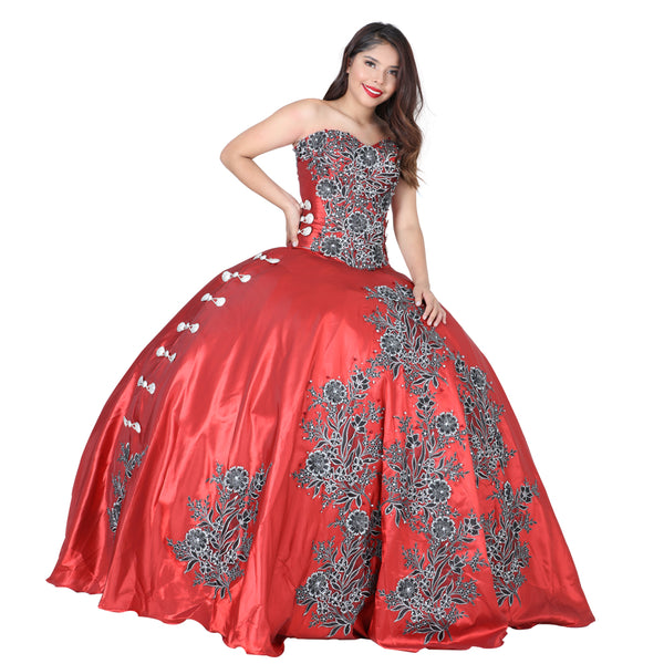 Red & Black Quinceañera Dress