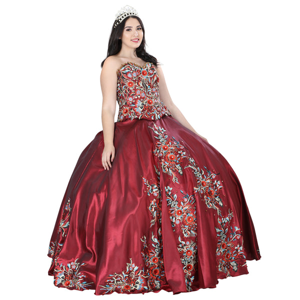 Burgundy Multicolored Quinceañera Dress