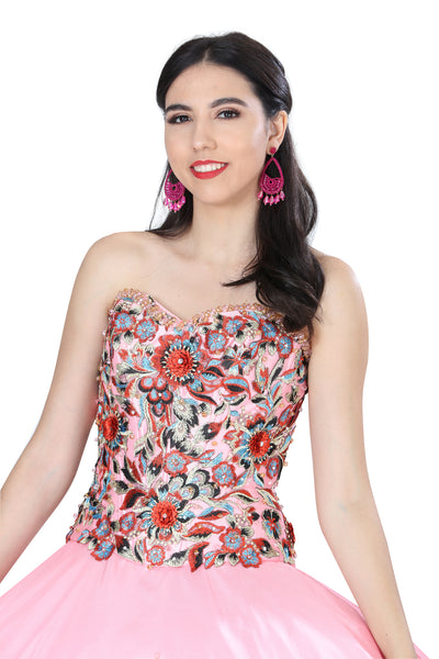 Pink Multicolored Quinceañera Dress