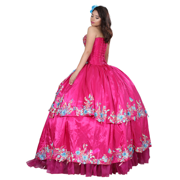 Fuchsia Multicolored Quinceañera Dress
