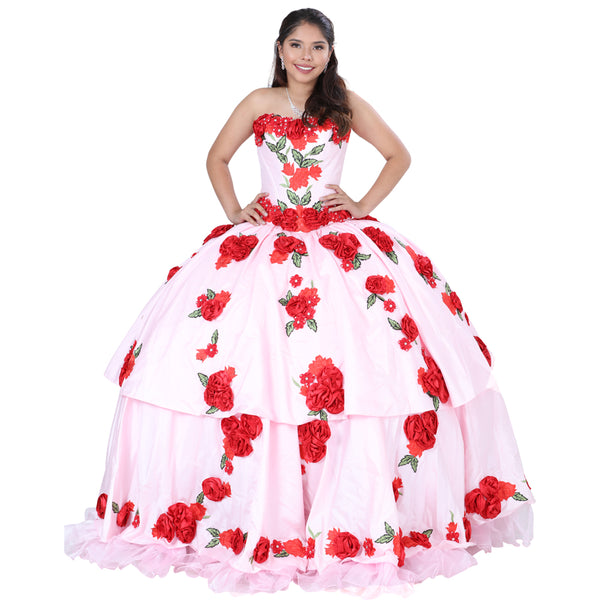 Pink & Red Rose Quinceañera Dress