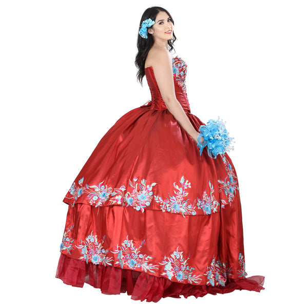 Red Multicolored Quinceañera Dress