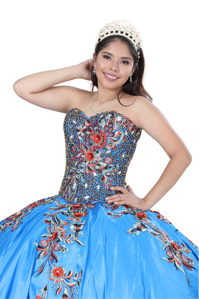 Blue Multicolored Quinceañera Dress
