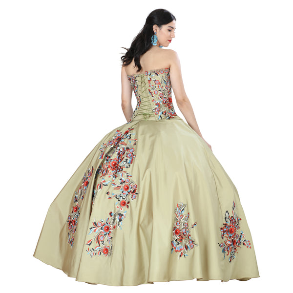 Green Multicolored Quinceañera Dress