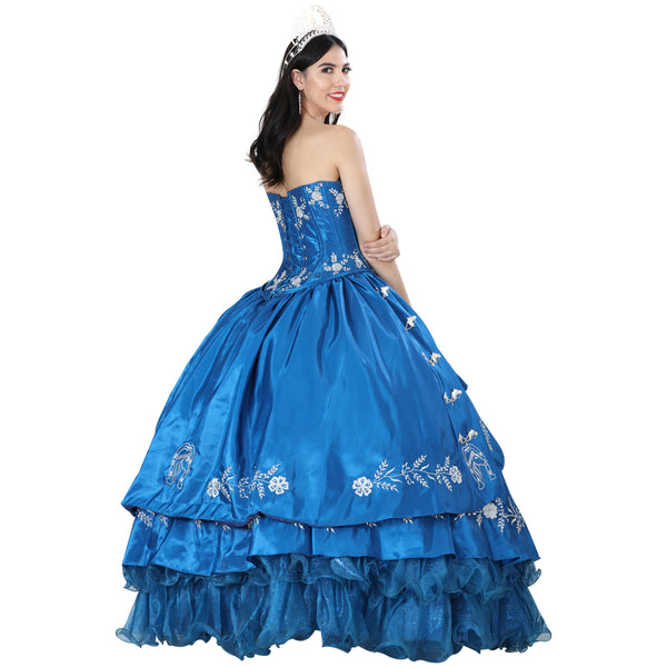 Navy Blue & Silver Quinceañera Dress