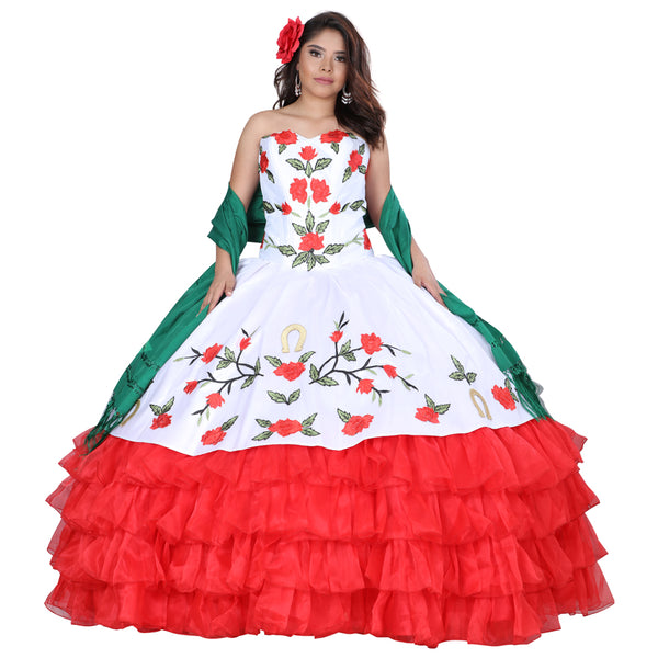 White & Red Flower Charro Dress